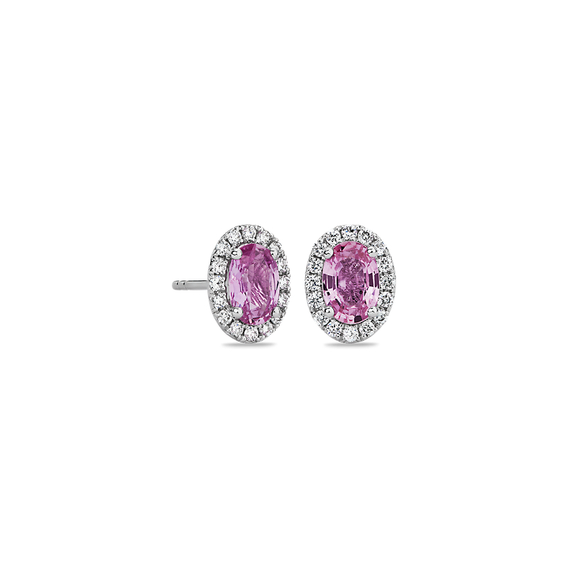 Pink Sapphire and Micropavé Diamond Earrings in 14k White