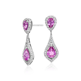Pink Sapphire and Micropavé Diamond Drop Earrings in 18k White Gold (7x5 mm)