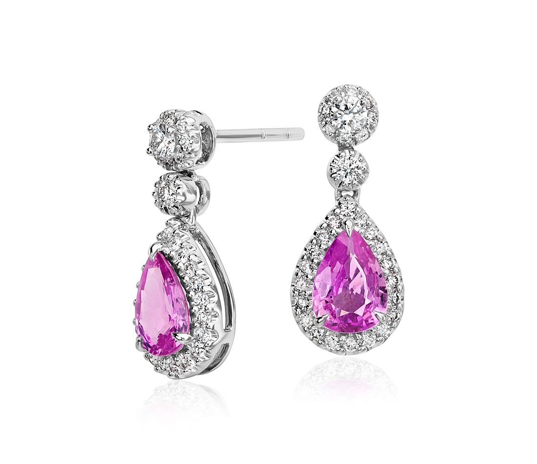pink sapphire halo diamond tear drop earrings in 18k white