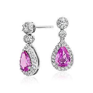 Aretes colgantes en forma de lágrima con halo de diamantes y zafiro rosado en oro blanco de 18 k (7x5mm)