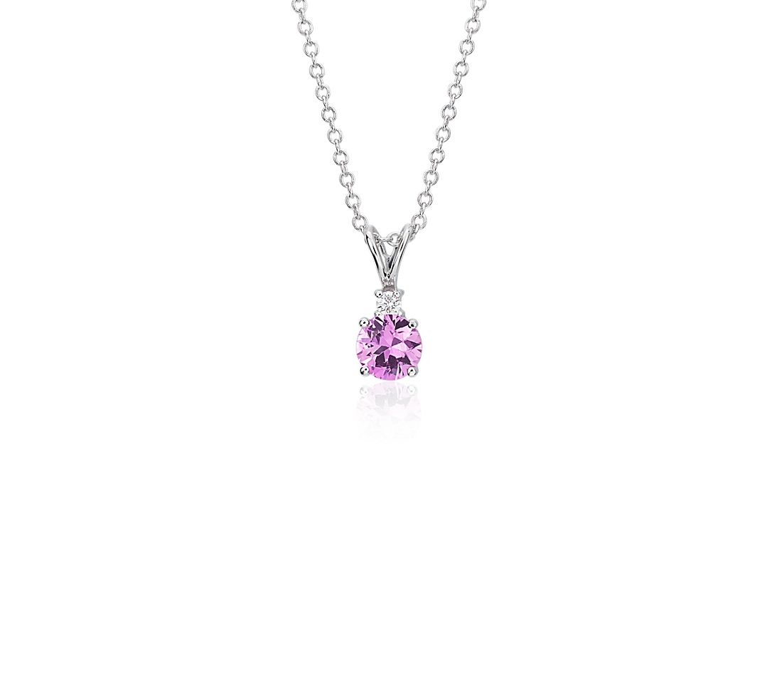 Pink Sapphire and Diamond Pendant in 18k White Gold