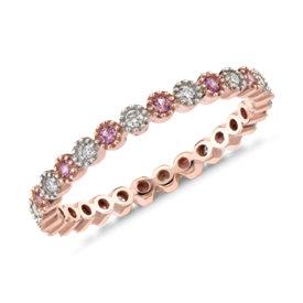 Anillo de eternidad de diamantes y zafiros rosados. en oro rosado de 14k (1,3mm)