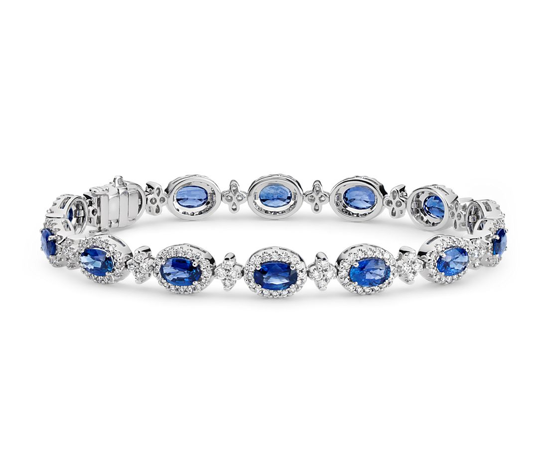 Oval Sapphire and Pavé Diamond Halo Bracelet in 18k White Gold (6x4mm)