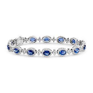 Oval Sapphire and Pavé Diamond Halo Bracelet in 18k White Gold (6x4mm)
