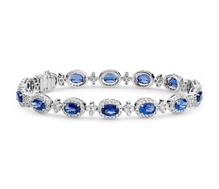 Oval Sapphire and Pavé Diamond Halo Bracelet in 18k White Gold