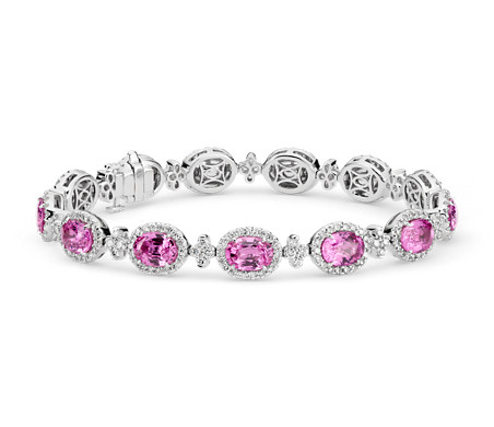 Bracelet halo de diamants sertis pavé et saphir rose en or blanc 18 carats (7 x 5 mm)
