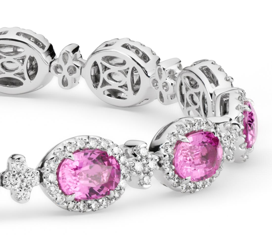 Bracelet halo de diamants sertis pavé et saphir rose en or blanc 18carats (7x5mm)