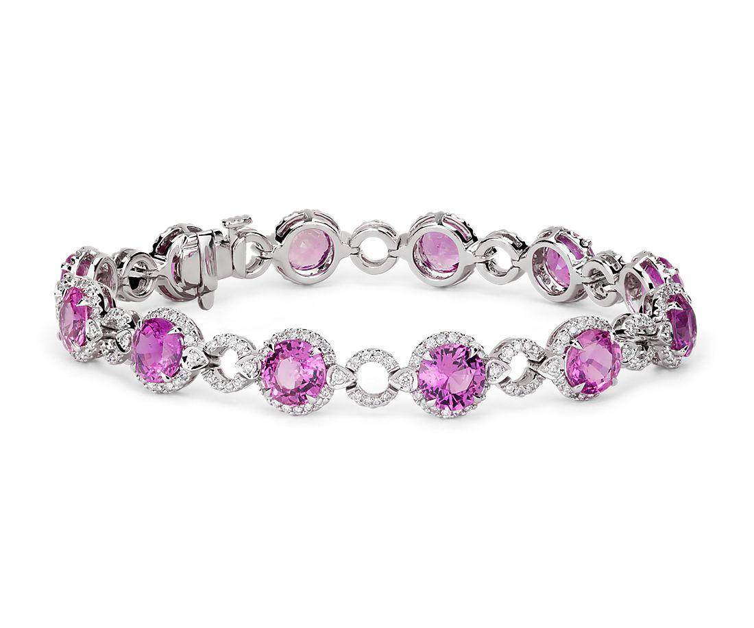 Pink Sapphire and Open Circle Pavé Diamond Bracelet in 18k ...