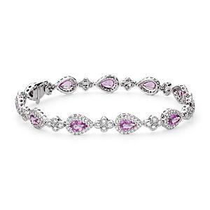 Bracelet halo de diamants sertis pavé et saphir rose en or blanc 18carats (6x4mm)