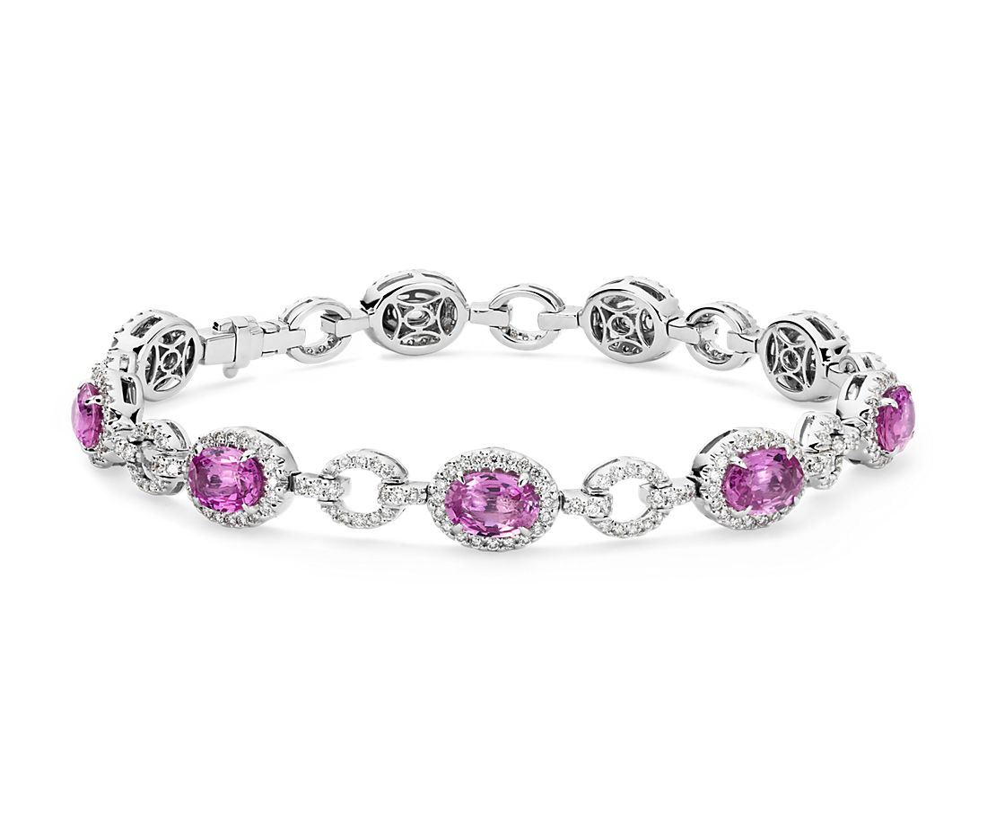 Oval Pink Sapphire and Pavé Diamond Halo Bracelet in 18k White Gold (8.22 cts)