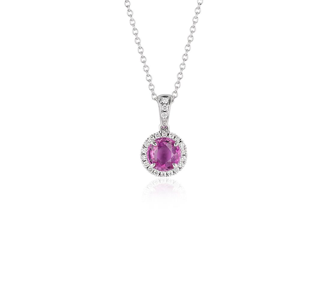 Pink Sapphire and Micropavé Diamond Pendant in 18k White Gold (6mm)