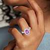 Cushion Pink Sapphire and Micropavé  Diamond Halo Ring in 18k White Gold (2.37 cts)