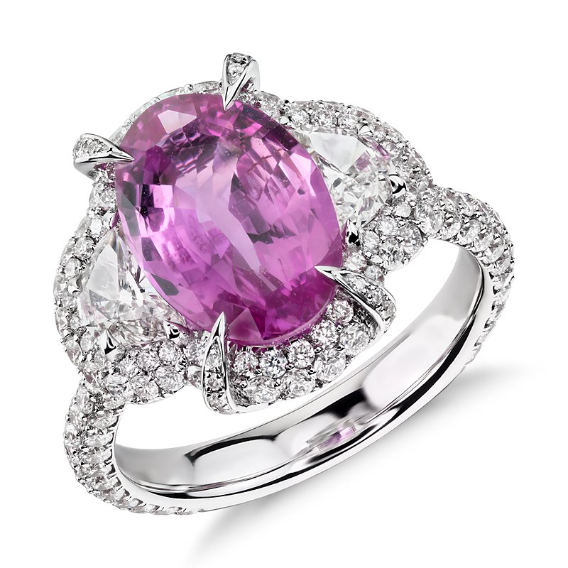 Pink Sapphire and Diamond Halo Ring in 18k White Gold (3.44 ct. c