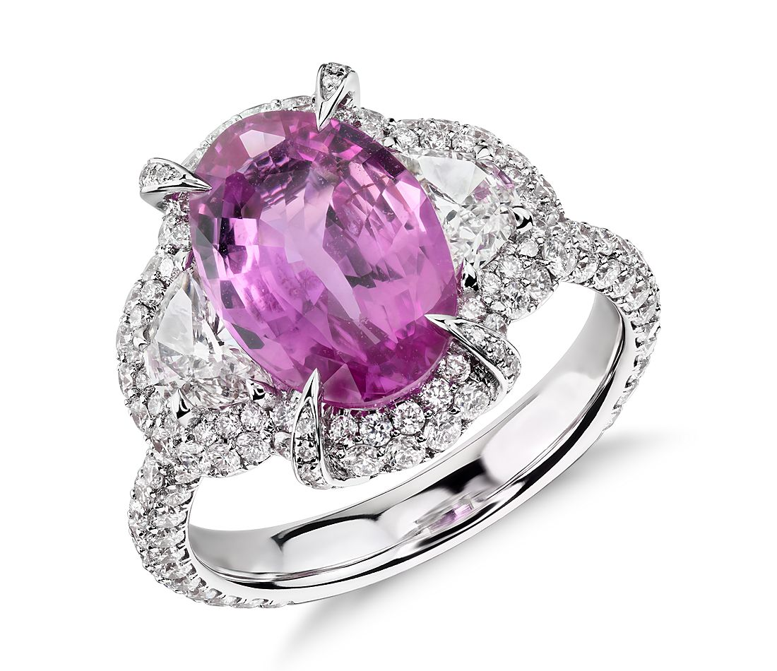 Pink Sapphire and Diamond Halo Ring in 18k White Gold