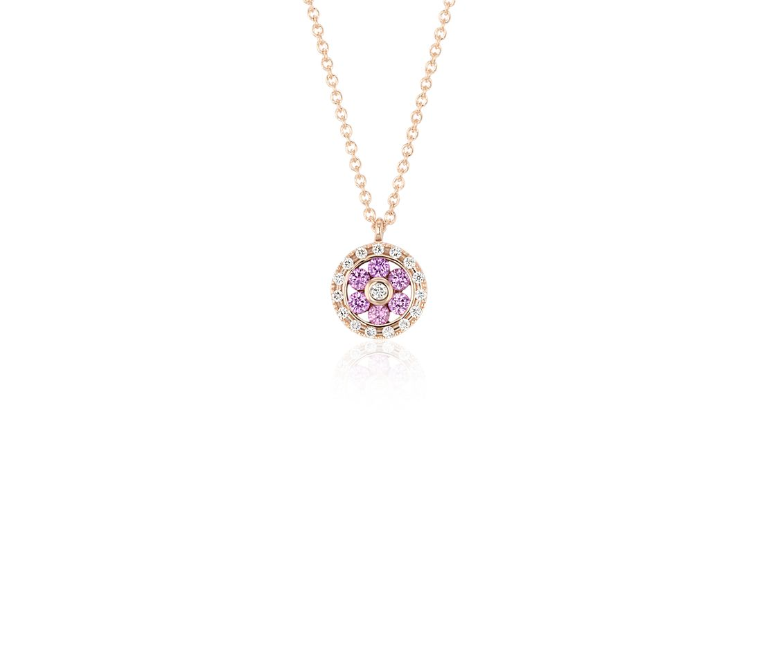 Petite Pink Sapphire and Diamond Floral Pendant in 14k ...