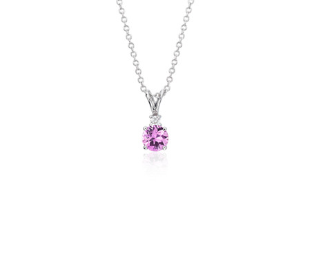 Pink Sapphire and Diamond Pendant in 18k White Gold (5mm)
