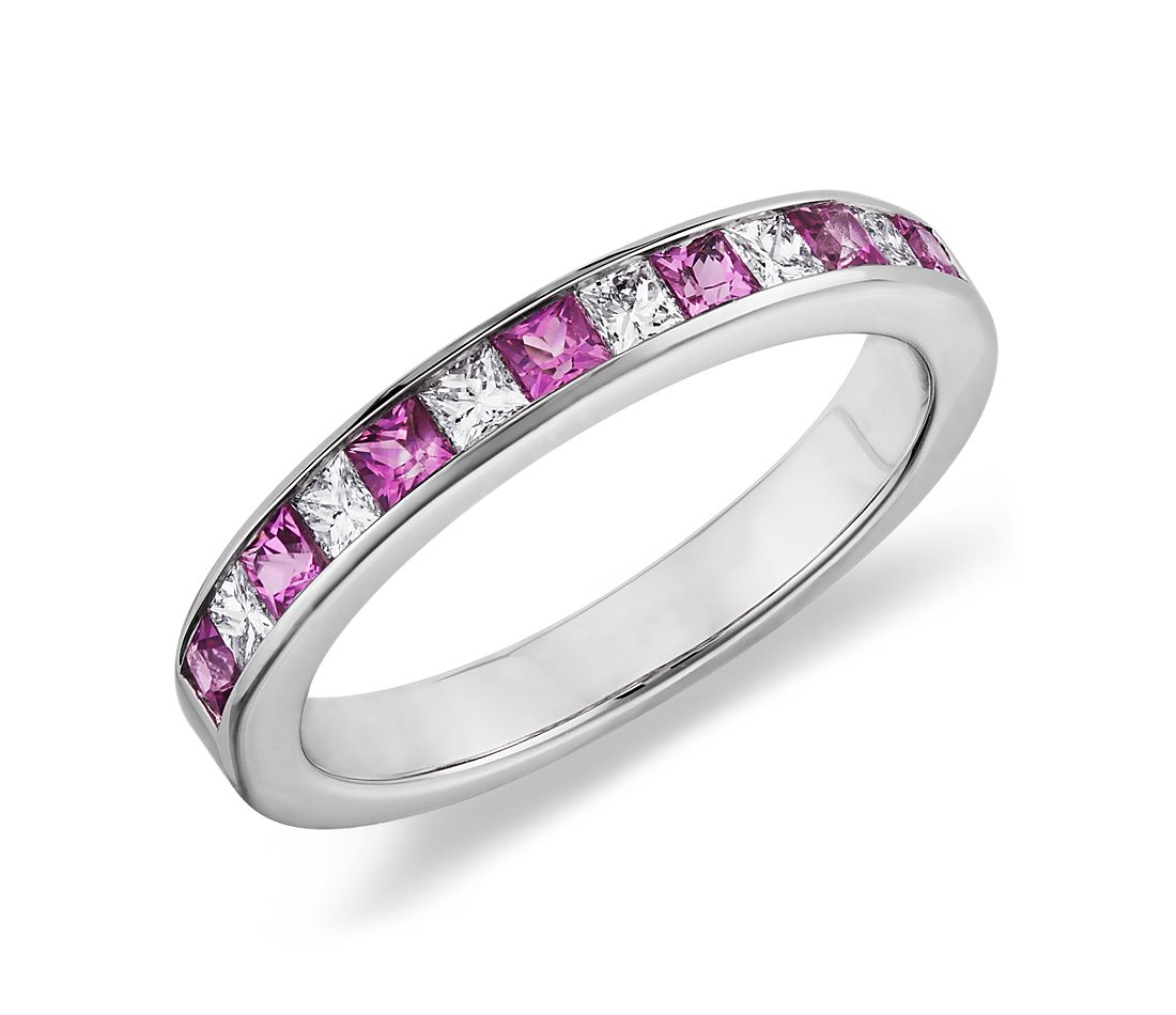 Channel Set Princess Cut Pink Sapphire and Diamond Ring in 14K White Gold