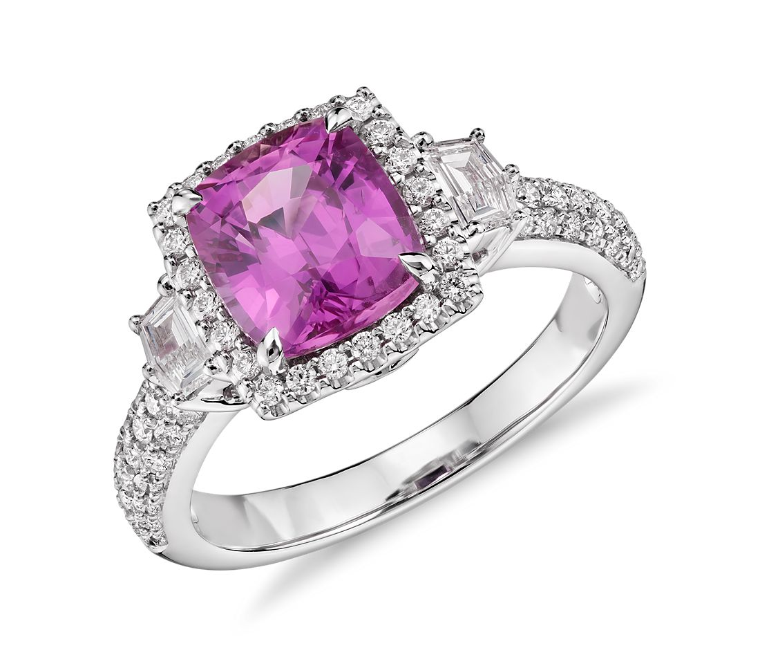 Cushion Cut Pink Sapphire With Diamond Halo Ring In 18k