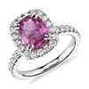 Pink Sapphire and Diamond Halo Ring in 18k White Gold (2.04 ct. center) (9x6.95mm)