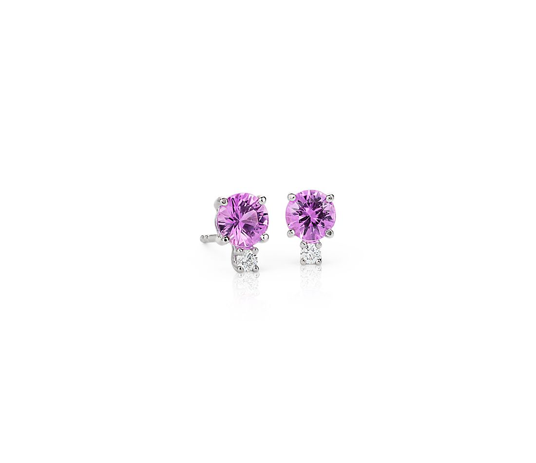 Pink Sapphire and Diamond Stud Earrings in 18k White Gold (5mm)