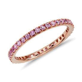 Alianza de eternidad Riviera con pavé de zafiros rosados en oro rosado de 18k