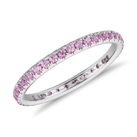 Riviera Pavé Pink Sapphire Eternity Ring in 18k White Gold