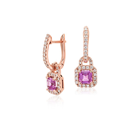 Pink Sapphire Halo Drop Earrings in 14k Rose Gold (4.5mm)