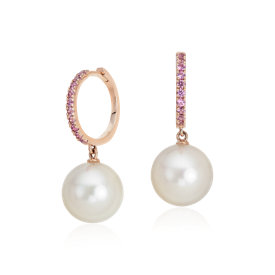 Pink Sapphire and Freshwater Cultured Pearl Hoop Earrings in 14k Rose Gold