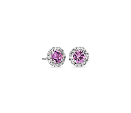 Pink Sapphire and Micropave Diamond Stud Earrings in 18k White Gold (5mm)