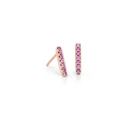 Pink Sapphire Pavé Bar Stud Earrings in 14k Rose Gold (1.5mm)