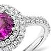Pink Sapphire Pavé Diamond Double Halo Ring in 18k White Gold (0.80 ct.) (5.3mm)