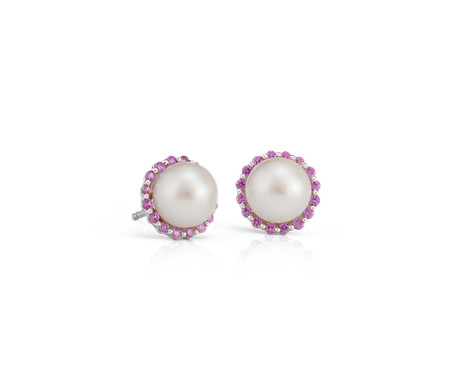 Pink Sapphire and Freshwater Cultured Pearl Halo Stud Earrings in 14k White Gold (7mm)