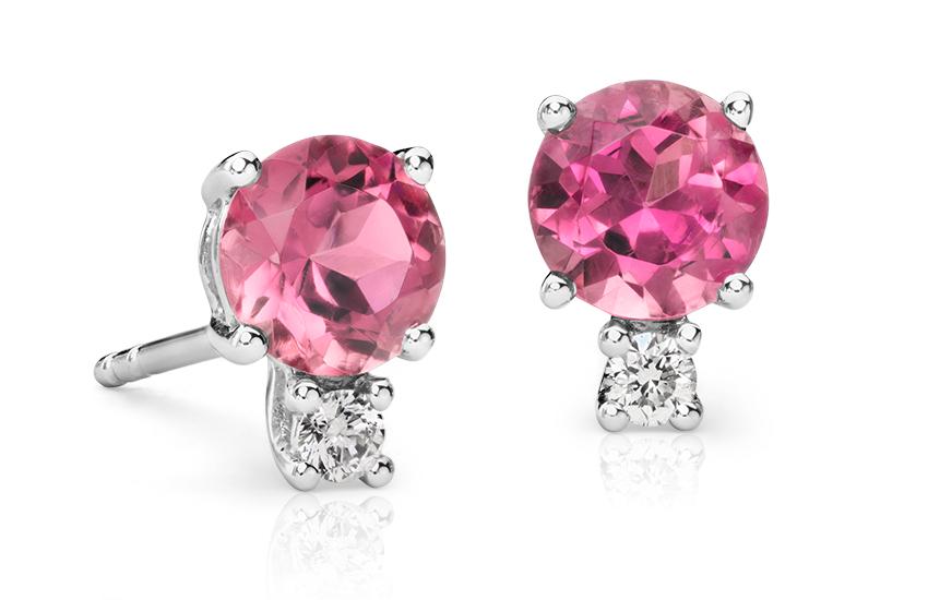 Boucles d'oreilles diamant et tourmaline rose en or blanc 18carats (5mm)