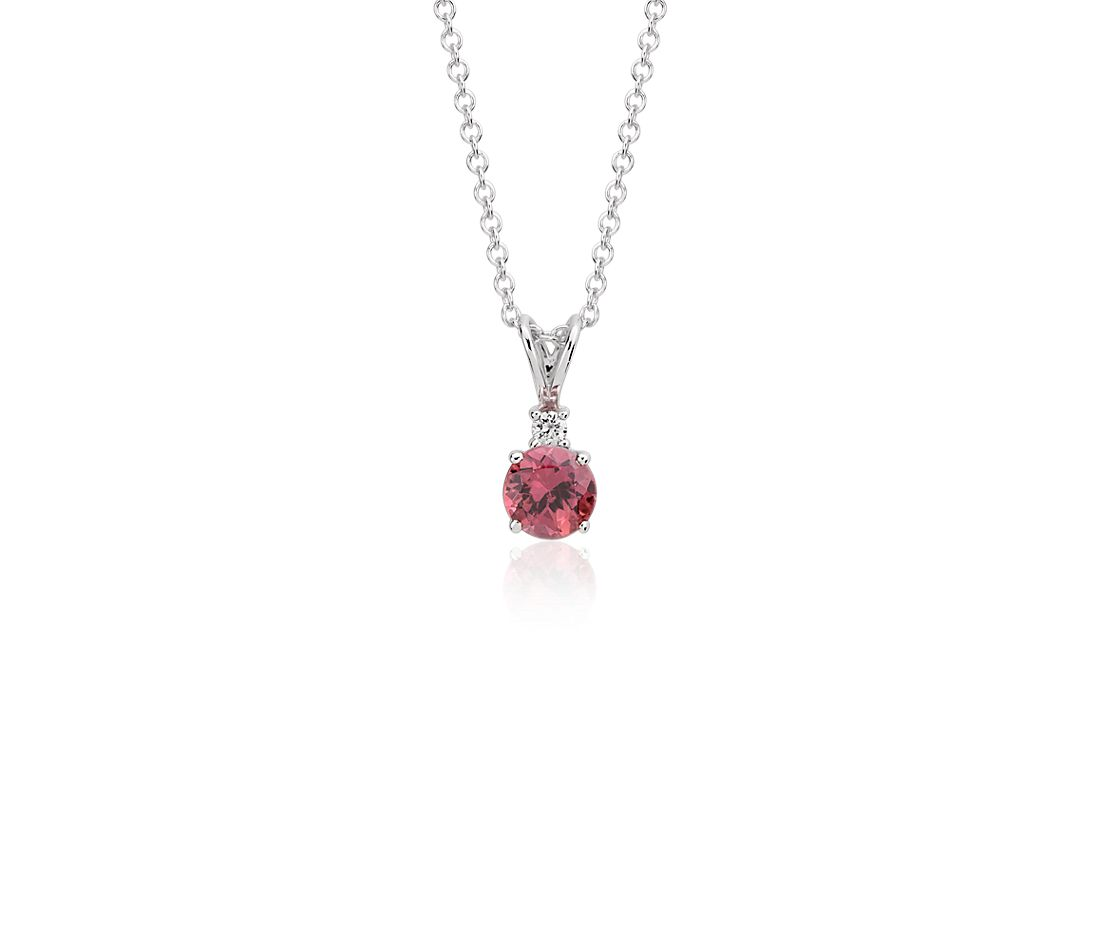 Pink Tourmaline and Diamond Pendant in 18k White Gold (5mm)