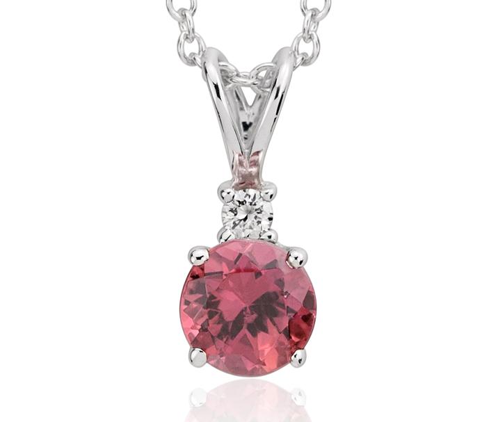 Colgante de diamantes y turmalina rosada en oro blanco de 18 k (5mm)