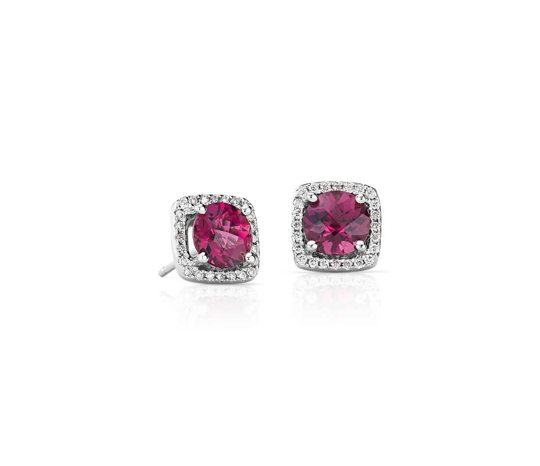 Pink Tourmaline and Diamond Cushion Stud Earrings in 14k White Gold (6mm)