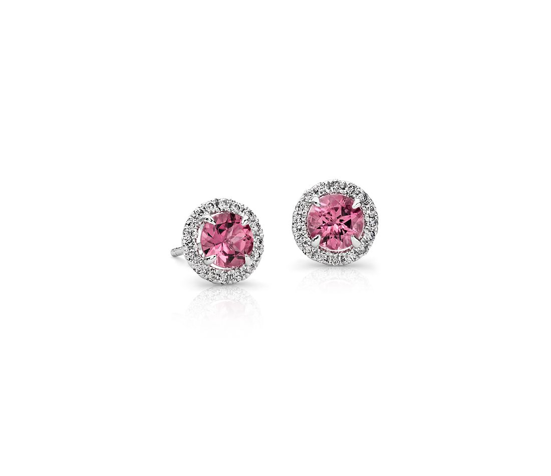 Pink Tourmaline And Micropavé Diamond Stud Earrings In 18k White Gold 5mm