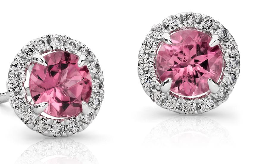 Puces d'oreilles en diamants sertis micro-pavé et tourmaline rose en or blanc 18carats (5mm)