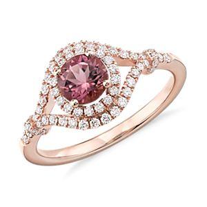 Bague élégante diamant et tourmaline rose en or rose 14carats (5,5mm)