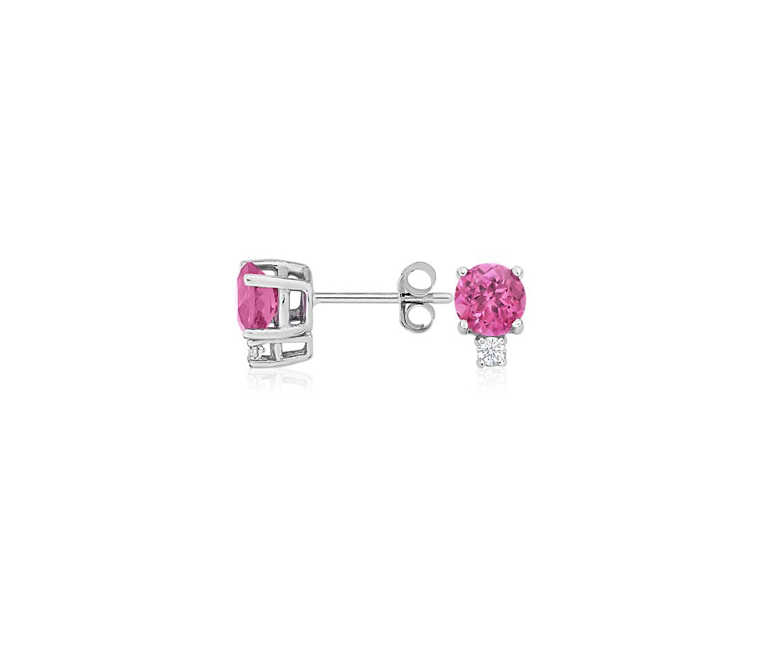 Pink Tourmaline and Diamond Earrings in 18k White Gold (5mm)