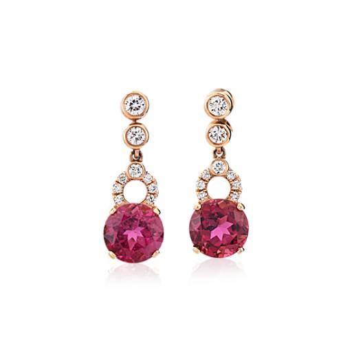 47b0c04e5 Pink Tourmaline Earrings with Bezel-Set Diamond Drop in 18k Rose Gold  (7.5mm)   Blue Nile