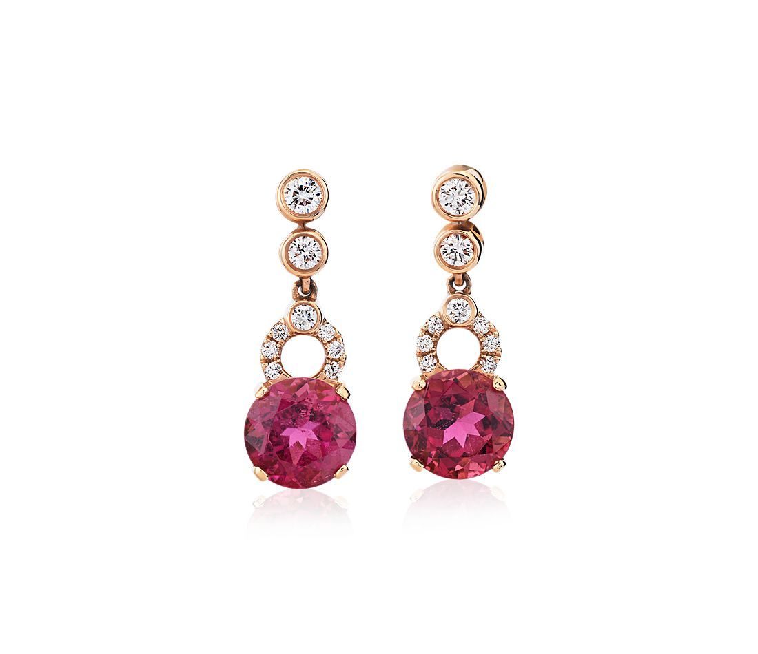 Pink Tourmaline Earrings with Bezel-Set Diamond Drop in 18k Rose Gold (7.5mm)