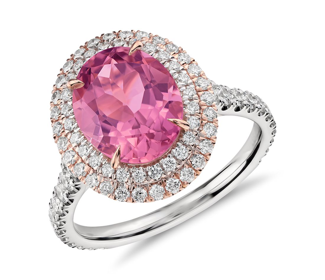 Pink Tourmaline and Double Halo Pavé Diamond Ring in 18k White and ...