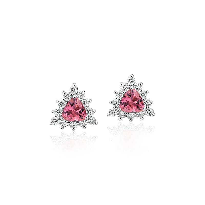 Pink Tourmaline Trillion Earrings with Diamond Halo in 14k White
