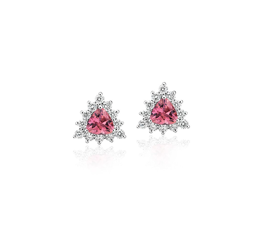 Pink Tourmaline Trillion Earrings with Diamond Halo in 14k White Gold (5mm)