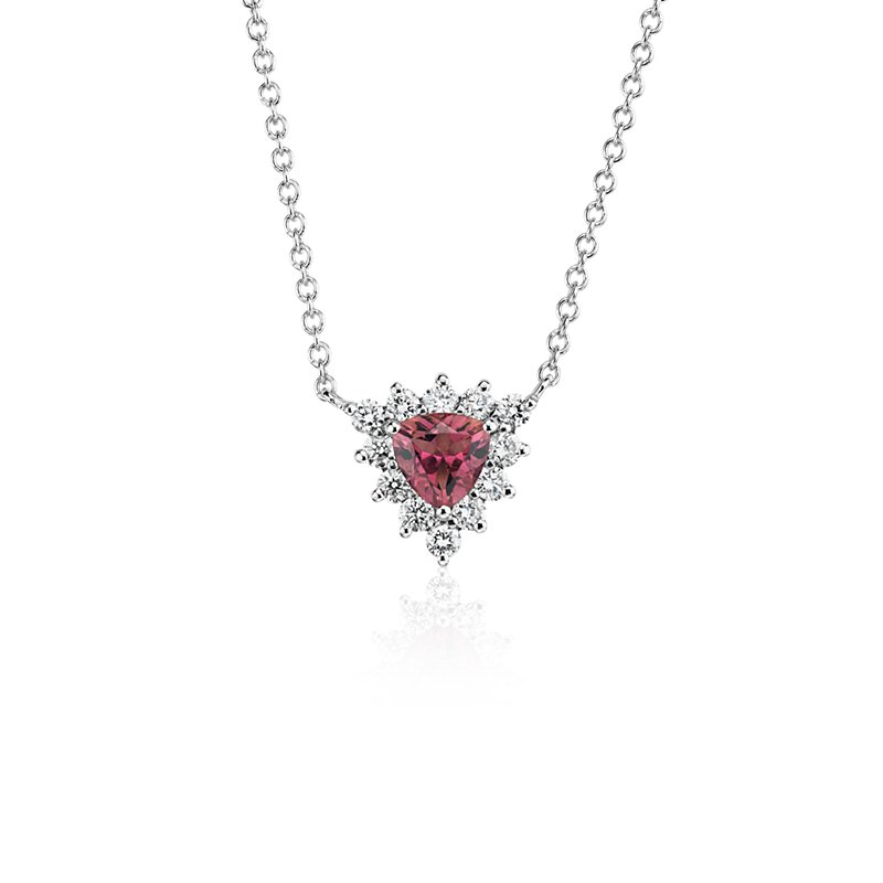 Pink Tourmaline Trillion Necklace with Diamond Halo in 14k White