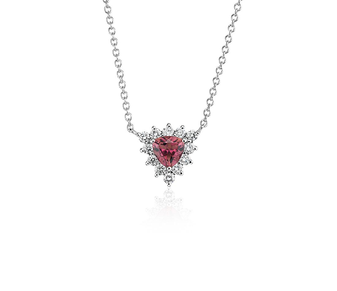 Pink Tourmaline Trillion Necklace with Diamond Halo in 14k White Gold (5mm)