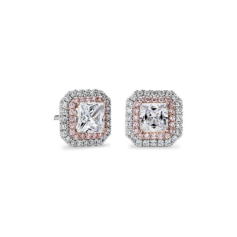 Pink and White Diamond Halos Princess Setting in Platinum & 18k R