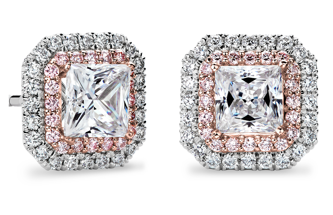 Pink and White Diamond Halos Princess Setting in Platinum & 18k Rose Gold