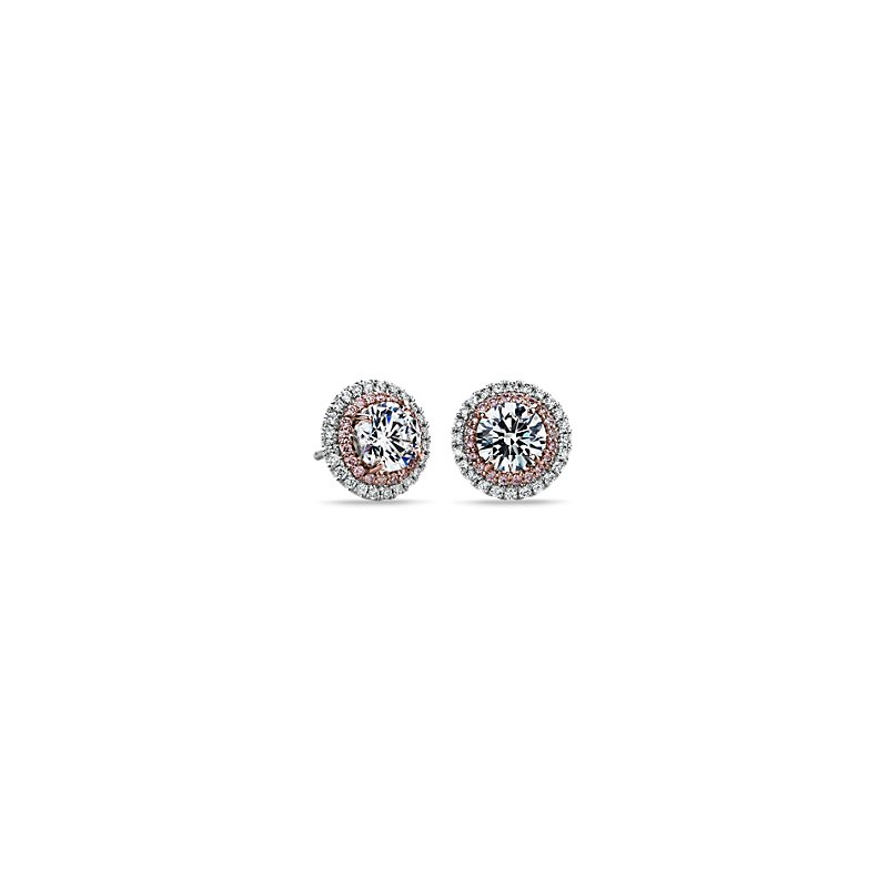 Pink and White Diamond Halos Round  Setting in Platinum & 18k Ros